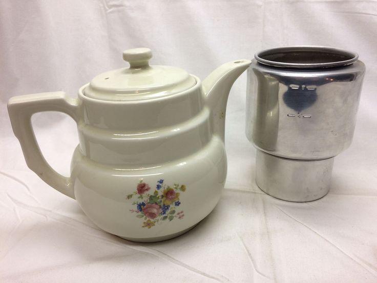 Vintage Drip-O-Lator Coffee Pot Porcelain By Enterprise Aluminum Company Flowers #EnterpriseAluminumCompany