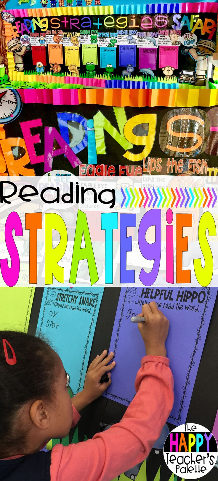 Reading Strategies Safari Bulletin Board Set Decoding Strategies Posters and Recording Sheets for Kindergarten 1st grade and 2nd grade