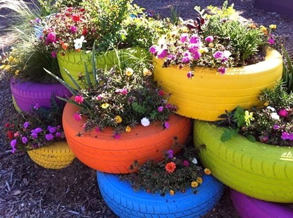 Old tires painted and used as planters