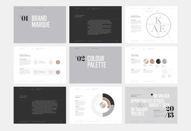 KAE Brand Identity [CL: Beautiful typography, and I like the big divider pages, as well as the different colored backgrounds -- may be more relevant for a custom brand guide]