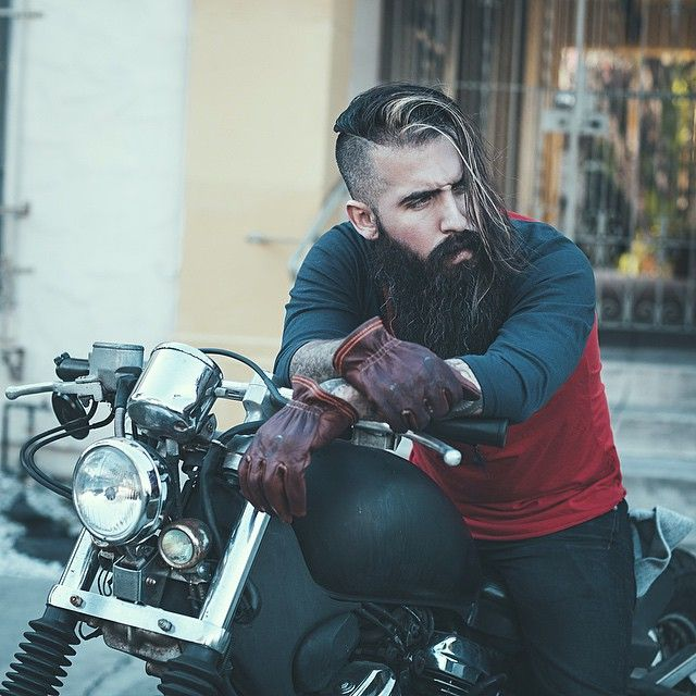 Trig Perez - long full thick black beard and mustache beards bearded man men mens' style street motorcycle biker bikers model long hair epic natural length bearding #beardsforever