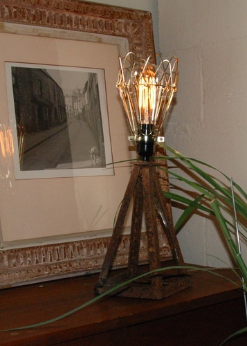 Jack Stand Junk Industrial Lamps With Edison Marconi Bulbs