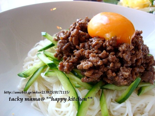 ジャージャー麺風★甘辛肉味噌乗っけ素麺     たっきーママ@**happy kitchen**