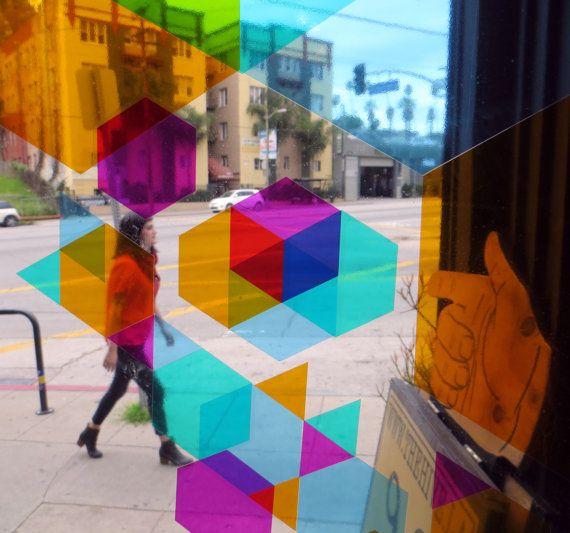 DIY Hexagon Stained Glass window STICKERS mini set