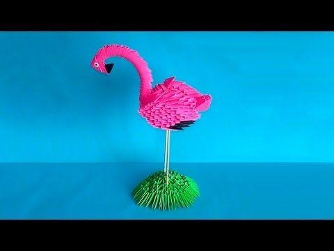 How to make 3D origami bird flamingo master class (tutorial) i use this to make…