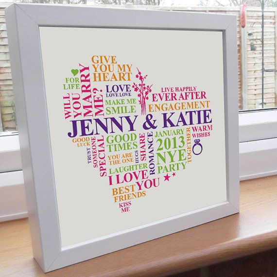 Personalised Word Art. Engagement gift. Printable wall hanging picture. Gay female girls women same sex. Romantic love present unique. via Etsy