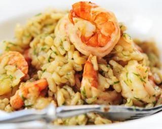 Risotto de crevettes au curry et basilic