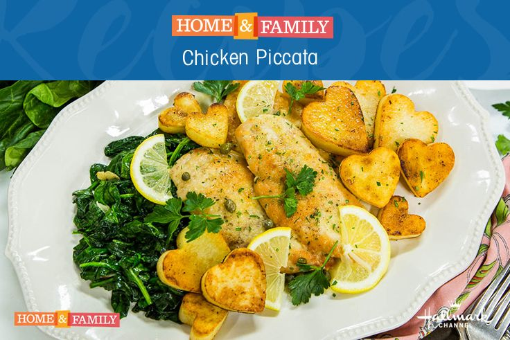 Chicken Piccata, Wilted Spinach & Heart-shaped Potatoes - Spend Valentine's Day cooking a delicious meal for your loved one. Heart-shaped potatoes add the perfect touch! Recipe by @cristinacooks on Home and Family!