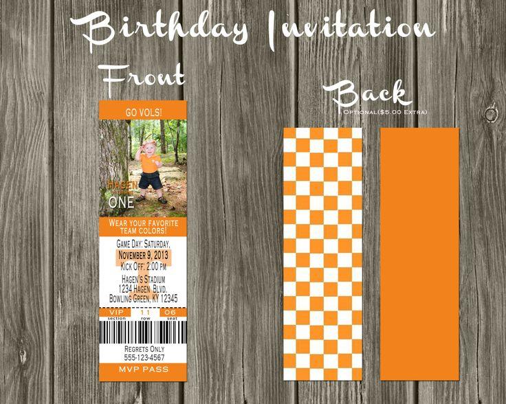 Tennessee Vols Football Ticket Digital Birthday by SavCreations