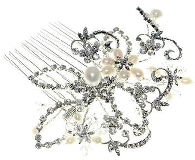 Antique Styled Pearl & Diamante Wedding Comb to buy on- line at ayedo.co.uk