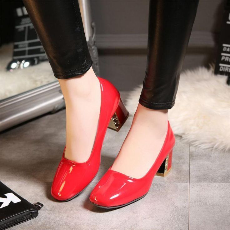 Us4-12 Womens Ol Party Boat Pumps Shoes Patent Leather Square Kitten Heels Shoes