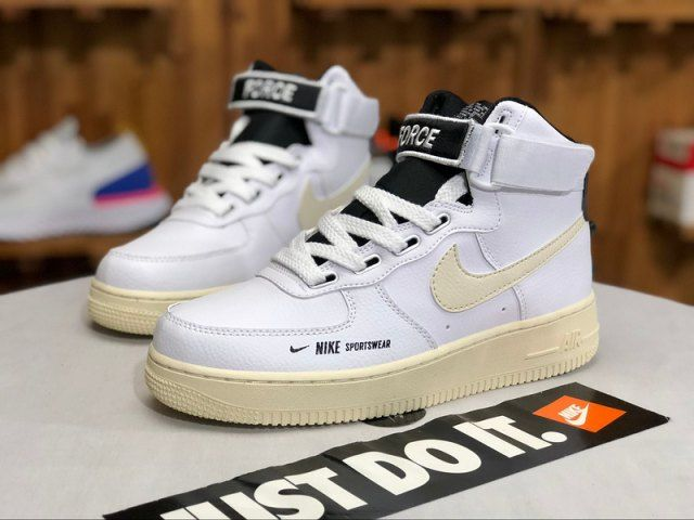 Nike Air Force 1 High Utility White Light Cream Black White Aj7311