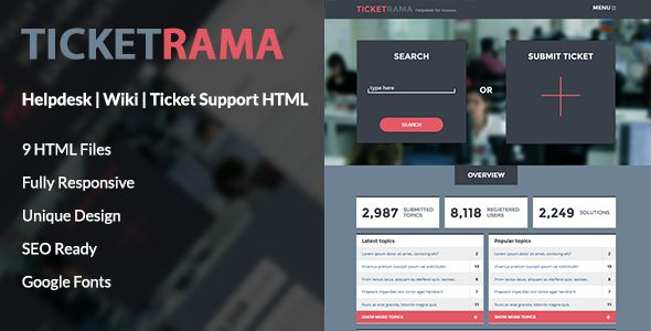 Ticketrama is a template built by authors for authors. It comes to help the need of those who have to find a great system to support their items and feel that other engines come short of making them feel like their work is made easy. With a profile section, blog, ticketing system and possibility to use Envato purchase verification, this is the complete solution to your support managment needs.