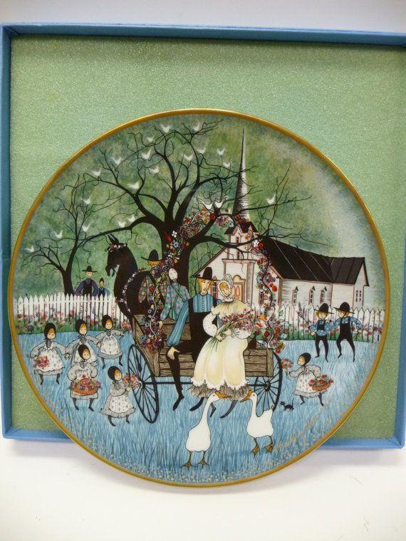 Vintage P Buckley Moss WEDDING JOY porcelain plate, 1986 Signed Numbered - Amish