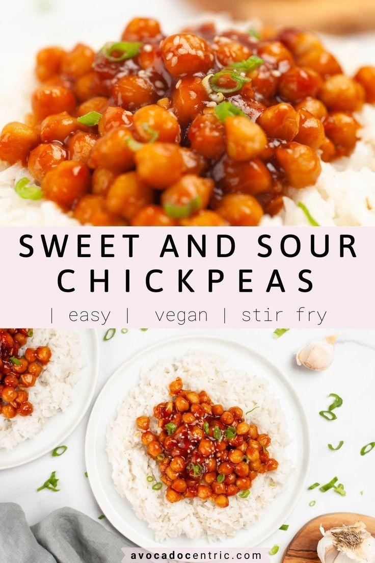 Sweet And Sour Chickpeas Vegan Easy Avocado Centric Recipe Vegan Side Dishes Vegan Dinner Recipes Chickpea Recipes