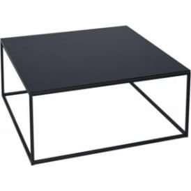 Black Glass and Black Metal Contemporary Square Coffee Table