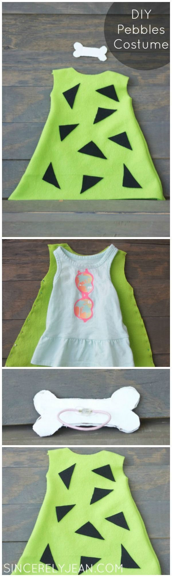 DIY Pebbles Costume Pinterest - perfect Halloween costume for young girl or baby! | http://www.sincerelyjean.com