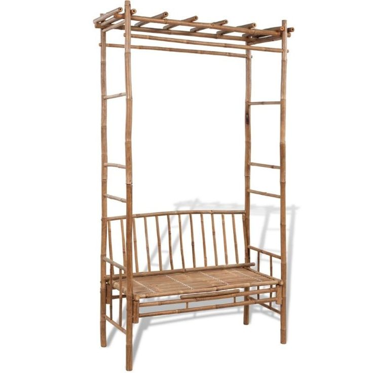 ThisGarden Arbour Seat classicbamboo bench with a pergola will make a great addition to your garden or any other outdoor space. The pergola is a stable base for roses and other climbers, which will create a lovely seating area in the summer. | eBay!