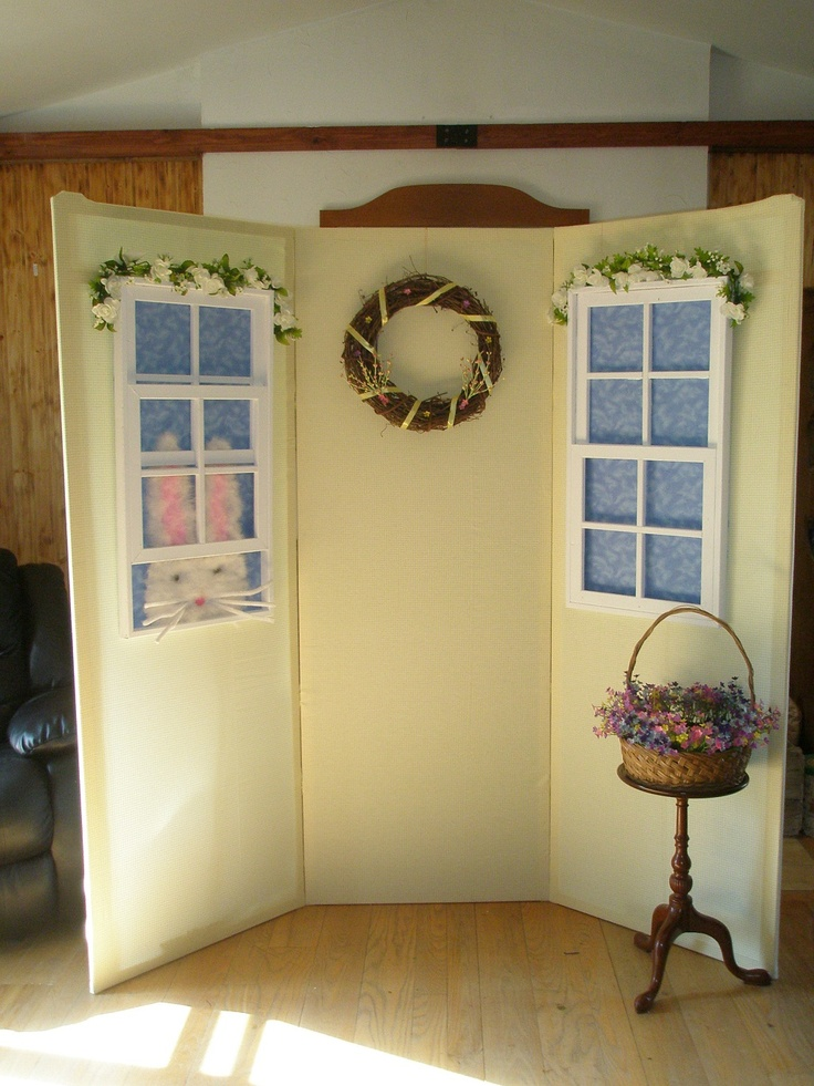 Photo backdrop for an Easter party. Everything can be removed & changed to be used at other holidays or events, even the fabric that makes the walls.