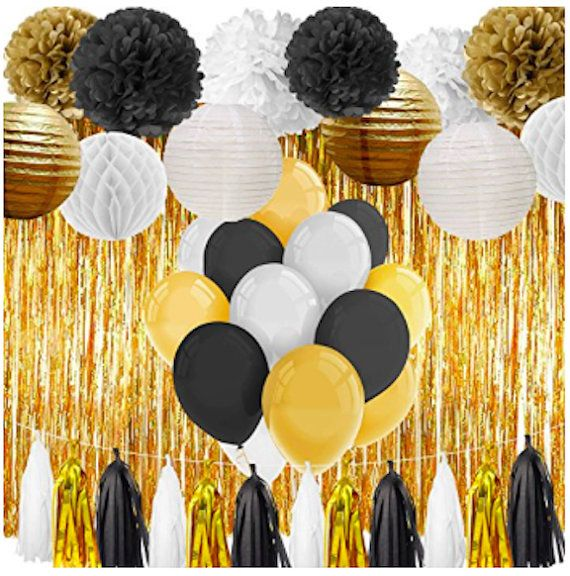 Black And Gold Party Decorations Happy Birthday 21st Birthday