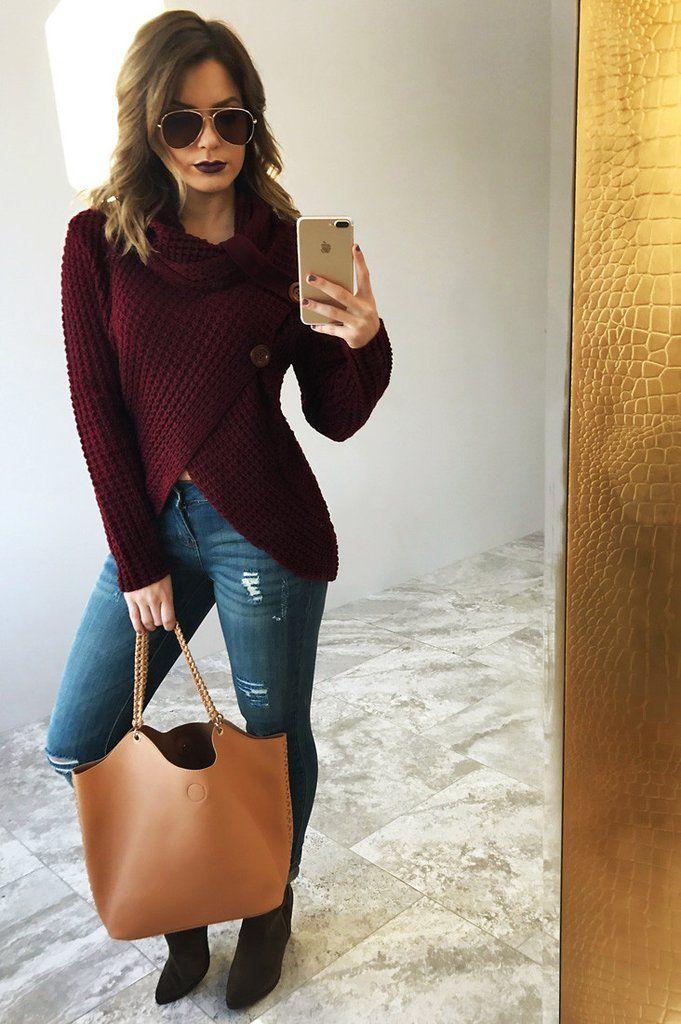 Chase The Sun Sweater: Burgundy