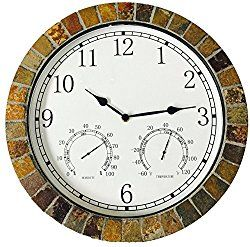 Danny's World Real Textured Ceramic Rock Tile 15 Inch Indoor/outdoor Clock with Temperature, Time, and Humidity – Arabic Numerals