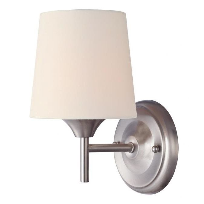 Westinghouse 6226000 Parker Mews One Light Interior Wall Fixture Brushed Nickel Finish With White Linen Fabric Shade