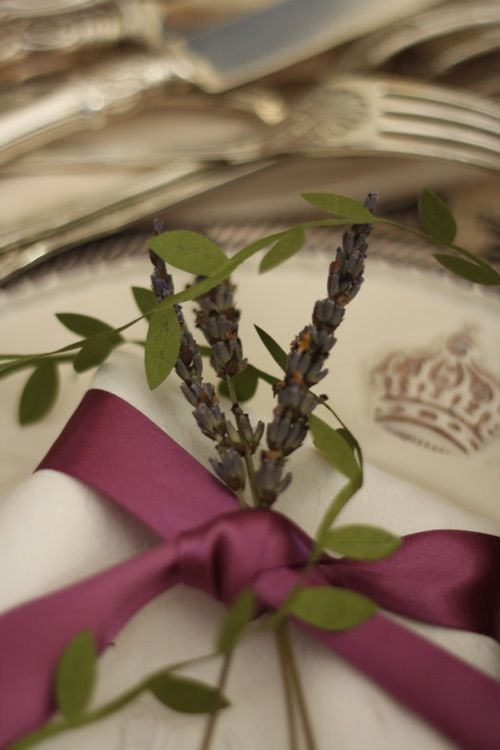 Lavender accent, china with crownmfor the table setting