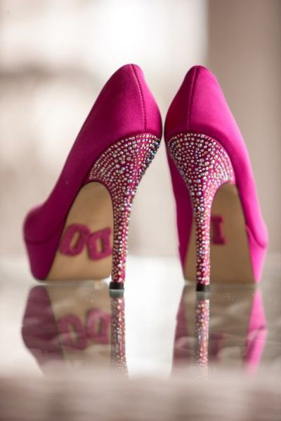 Bright Pink & Sparkly Shoes + A Masquerade Ball Wedding At