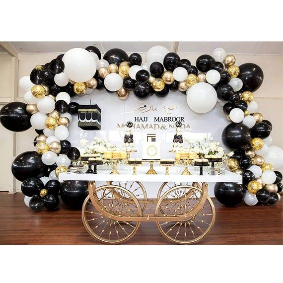 Black and Gold Balloon Garland Kit, Balloon Arch Kit, Party Decor, Wedding Decoration, Baby Shower,