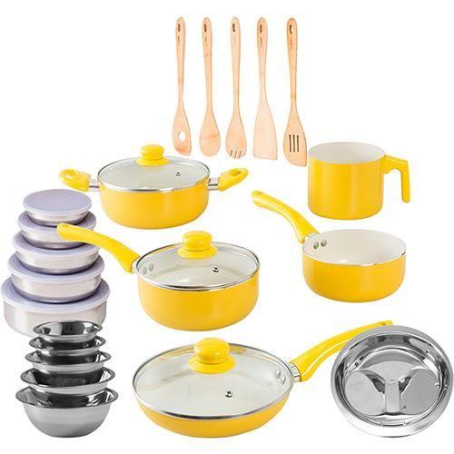Conjunto Panelas Cerâmica Colors 5 Peças Amarela + 5 Potes Inox + 5 Tigelas Inox + 5 Utensílios de Bambu + Escorredor de Arroz La Cuisine