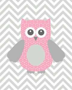 Art+print+/+poster+for+nursery,+baby+girl+-+pink+and+grey+owl,+chevron+pattern. Could also work as a quilt applique idea!