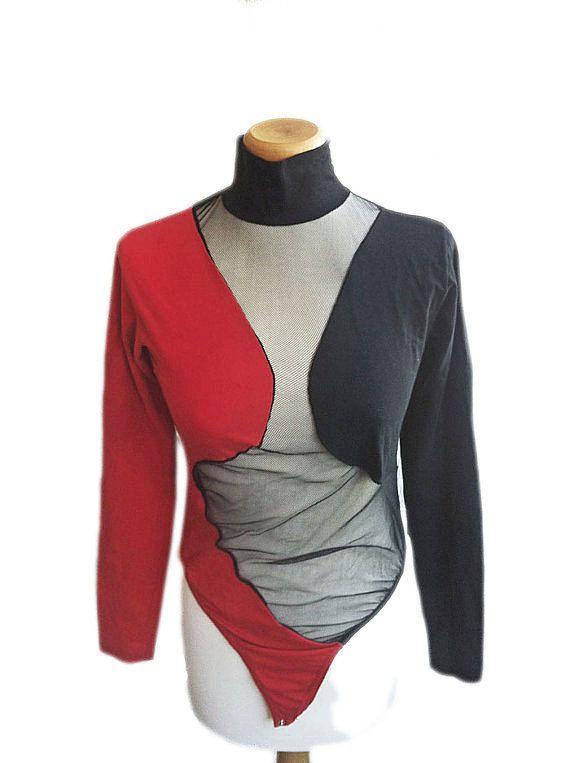 Sheer Bodysuit Mesh Sexy 80s Optical Italian Fashion Adriana De Nicola Size M