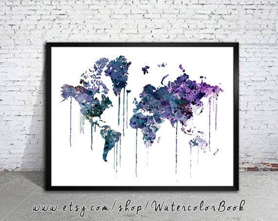 WATERCOLOR MAP, World Map, Watercolor Painting, Watercolor poster, Handmade poster, home decor, Map art, watercolor painting, map painting