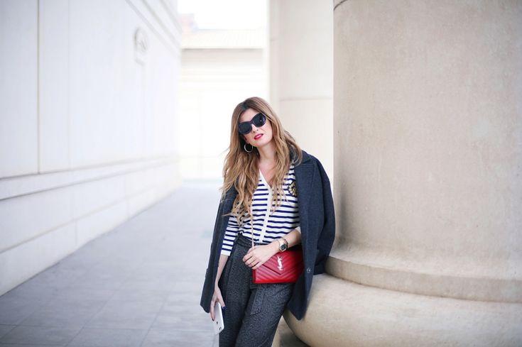 Trendy Look. Look en gris y chaqueta de rayas. A trendy life. #trendy #chic #moda #fashion #atllooks #080barcelona #redlips #escorpion #saintlaurent #zalando #sarenza #outfit #fashionblogger #atrendylife www.atrendylifestyle.com