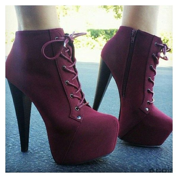 Shoes: platform lace up boots heels high heels red burgundy laces girl... ❤ liked on Polyvore featuring shoes, boots, ankle booties, platform booties, red boots, purple ankle boots, lace up boots and platform ankle boots