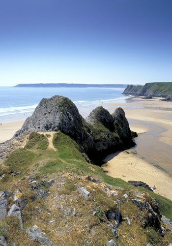 The Gower Peninsula. The three cliffs of Three Cliffs Bay, looking a bit like a rhino.
