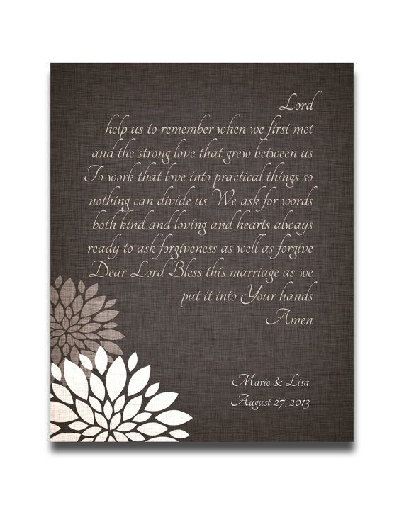 Wedding Gift Personalized Christian Marriage Blessing Prayer Custom Art Print 1st Anniversary Couples Name Date flowers Brown Tan White on Etsy, $20.00