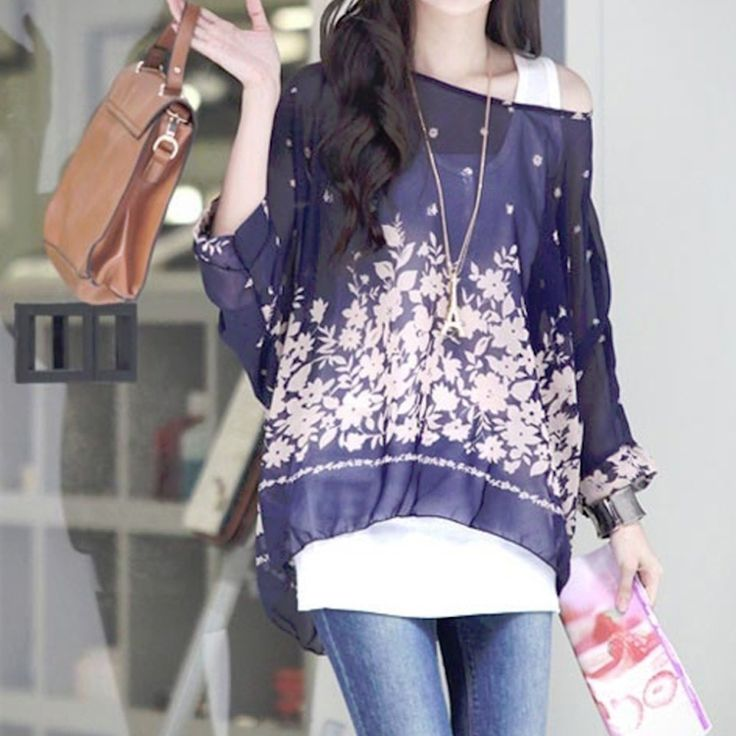 Womens Batwing Navy Floral Top