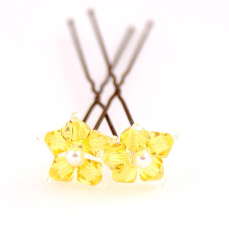 Sunflower Yellow Flower Hair Pins. Swarovski Crystal. Bridal Hair Pins. Wedding Hair Accessories. by PinkTreeStudios on Etsy https://www.etsy.com/listing/94707716/sunflower-yellow-flower-hair-pins