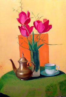 Art by Viorica Buga: Still life with flowers,oil on canvas,70/50 cm