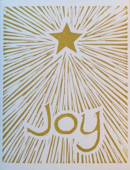 Joy linocut block print Christmas card by LinoGal on Etsy