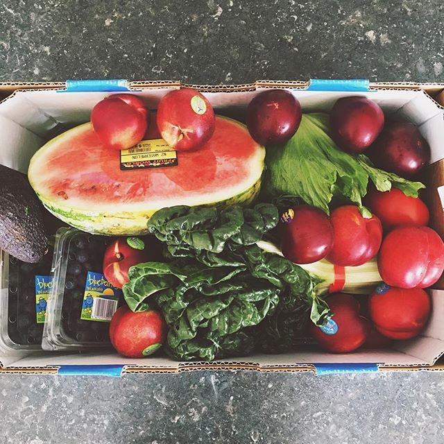 "Best $30 I'll spend this weekend ⭐️ Get to know your local fruit and veg shop/farmers market and make an effort to get there once a week. I live within walking distance of a supermarket so walk to get my ""pantry"" groceries a couple of times a week and then stock up on produce when I can.  It's cheaper, you use less plastic and the veggies are usually fresher/ready to eat  Today's haul: Silver beet, Lettuce, Cucumber, Avocados, Tomatoes, Nectarines, Plums, Watermelon, Blueberries, Sweet ..."