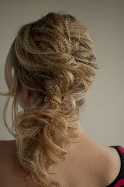 Messy braid side ponytail