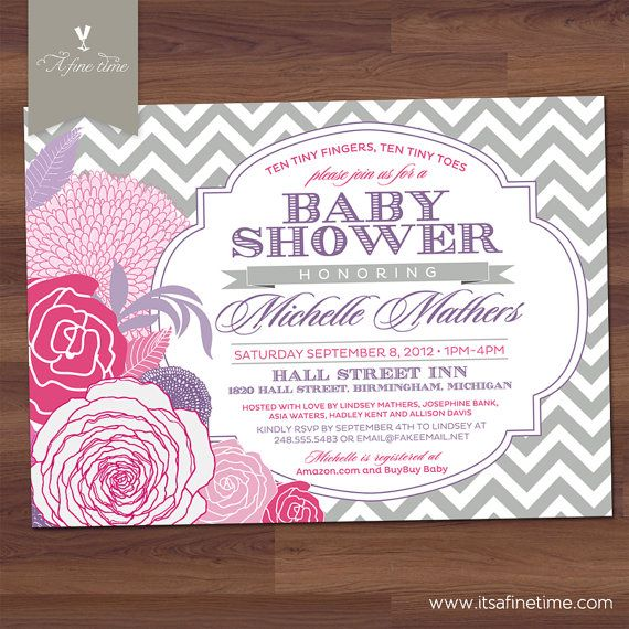 """Baby Shower Invitation - """"Chevron Rose"""" - Antique Floral - Vintage Typography - Girl, Twins, Neutral - Pink, Purple, Grey (Printable)"""