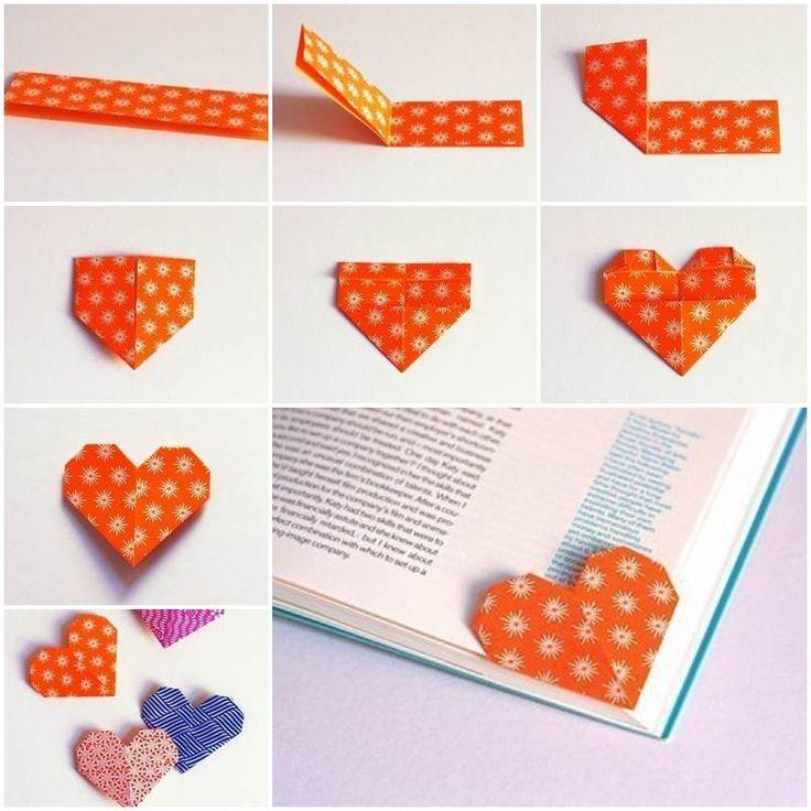Unique Origami Heart Bookmark .  Tutorial with video --> http://wonderfuldiy.com/wonderful-diy-unique-origami-heart-bookmark/