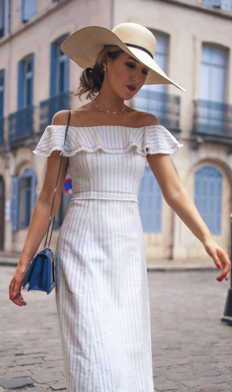 #summer #outfits  White Striped Off The Shoulder Dress + Navy Shoulder Bag