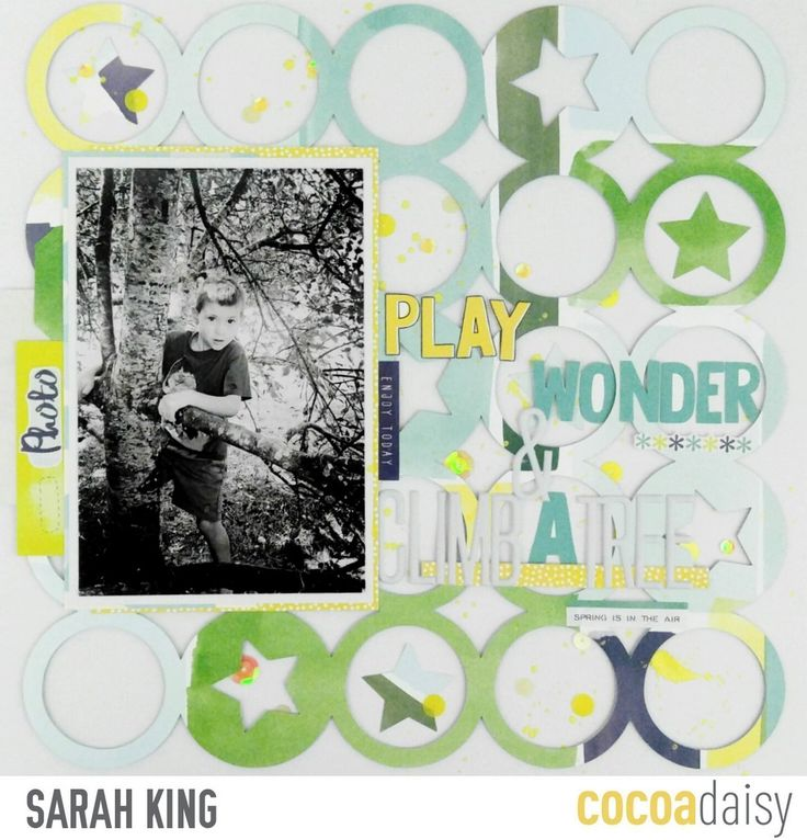 Play, Wonder, and Climb a Tree, by Sarah King using the Flutterby collection from www.cocoadaisy.com #cocoadaisy #kitclub #scrapbooking #layout #background #cutfiles #stickers #diecuts #sequins