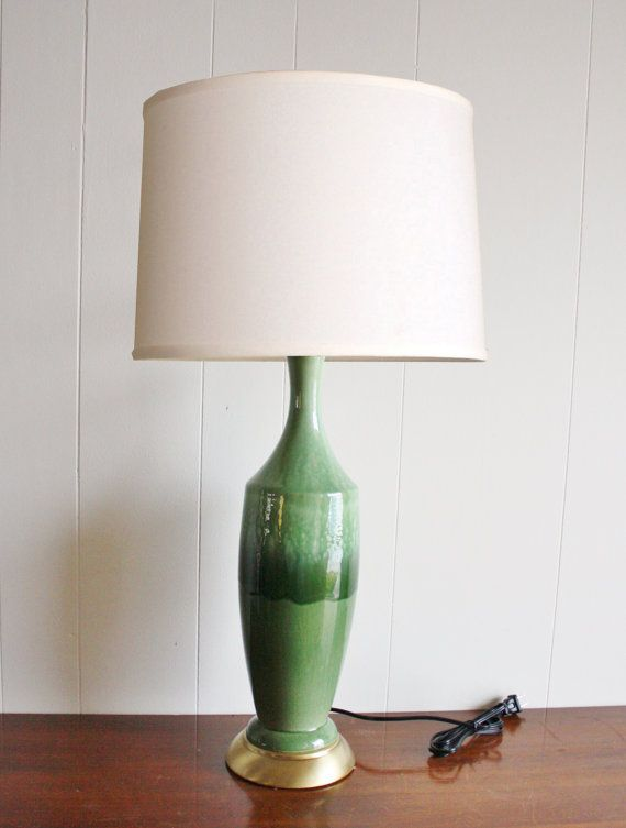 Charming Large Mid Century Modern Green Glazed Ceramic Table Lamp! A Gorgeous Find!  This