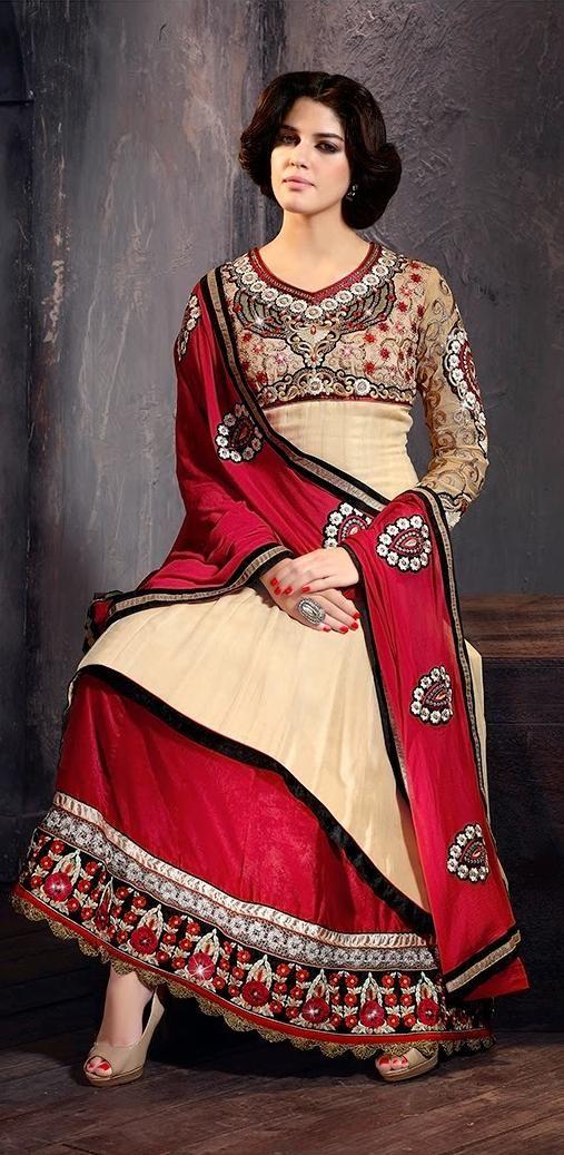 #Beige and #Red #Designer #LongKameez available only for $94.83/ Rs. 5595 at http://www.vivaahfashions.com/Salwar_Kameez/scintillating-cream-&-red-salwar-kameez